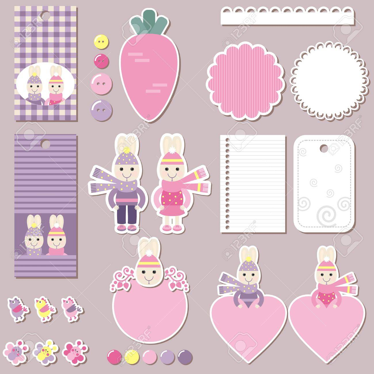 Scrapbook Design Elements For Kids Labels Buttons Tags Stickers