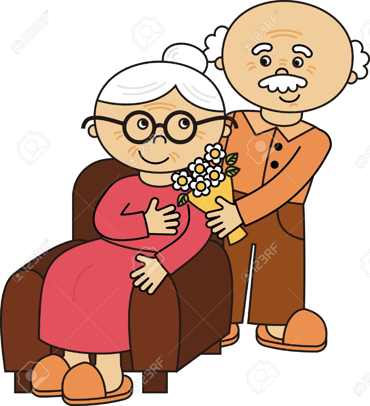 Vector Old Lady And Old Man Royalty Free Cliparts Vectors And