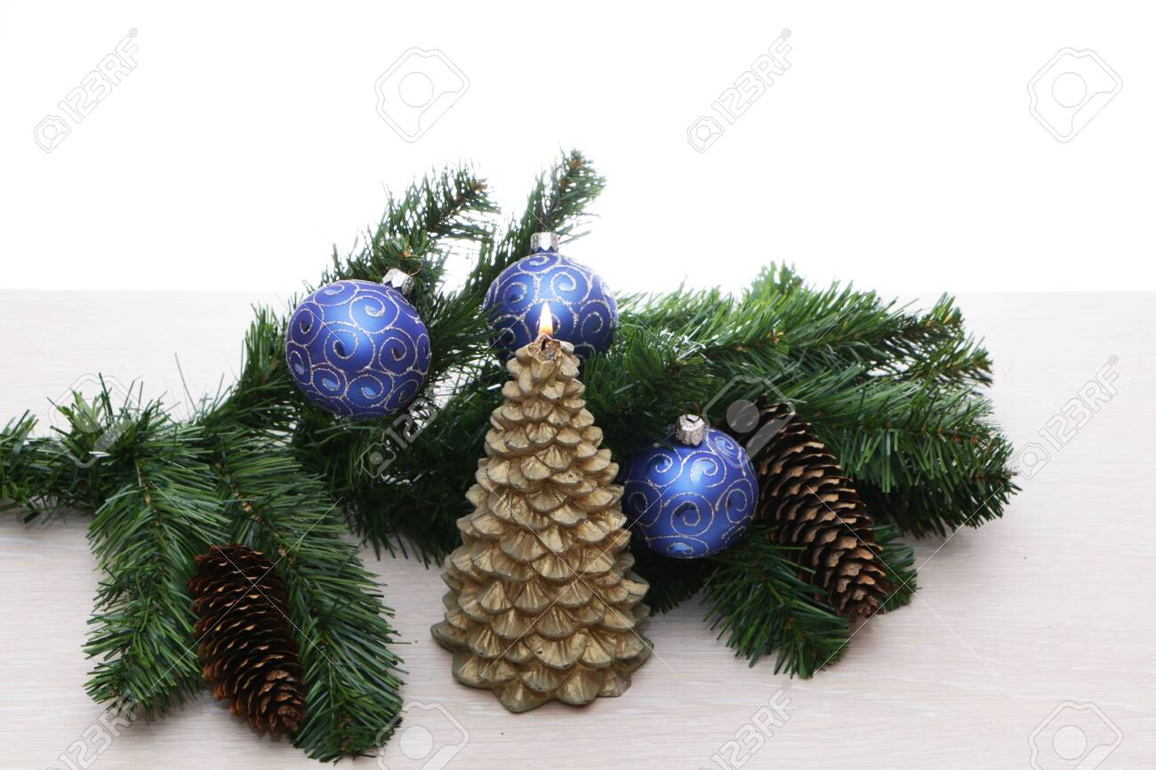 Blue Christmas Tree Decorations With Green Spruce Branch The Stock Photo Picture And Royalty Free Image Image 134807419