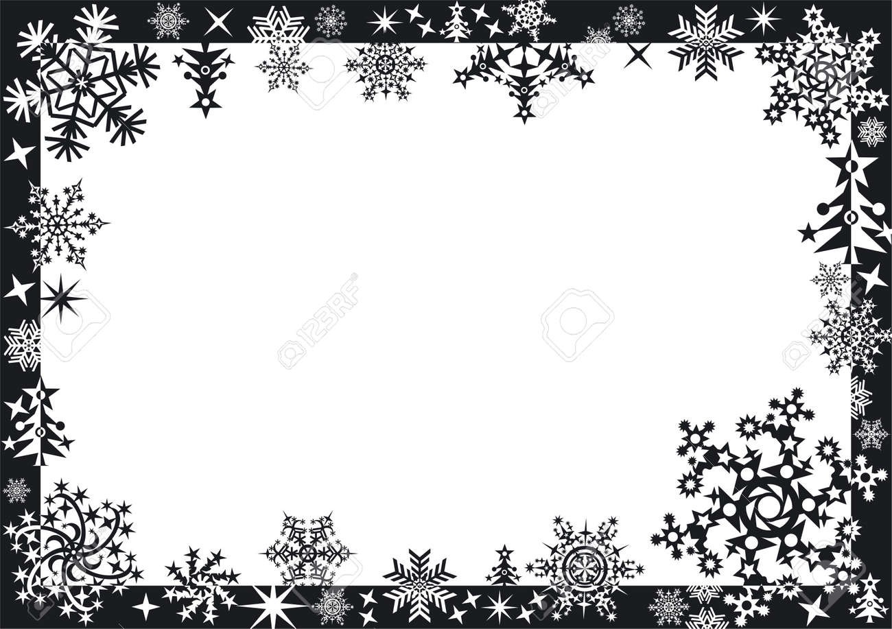 Winter Frame With Snowflakes Stock Photo, Picture And Royalty Free ...