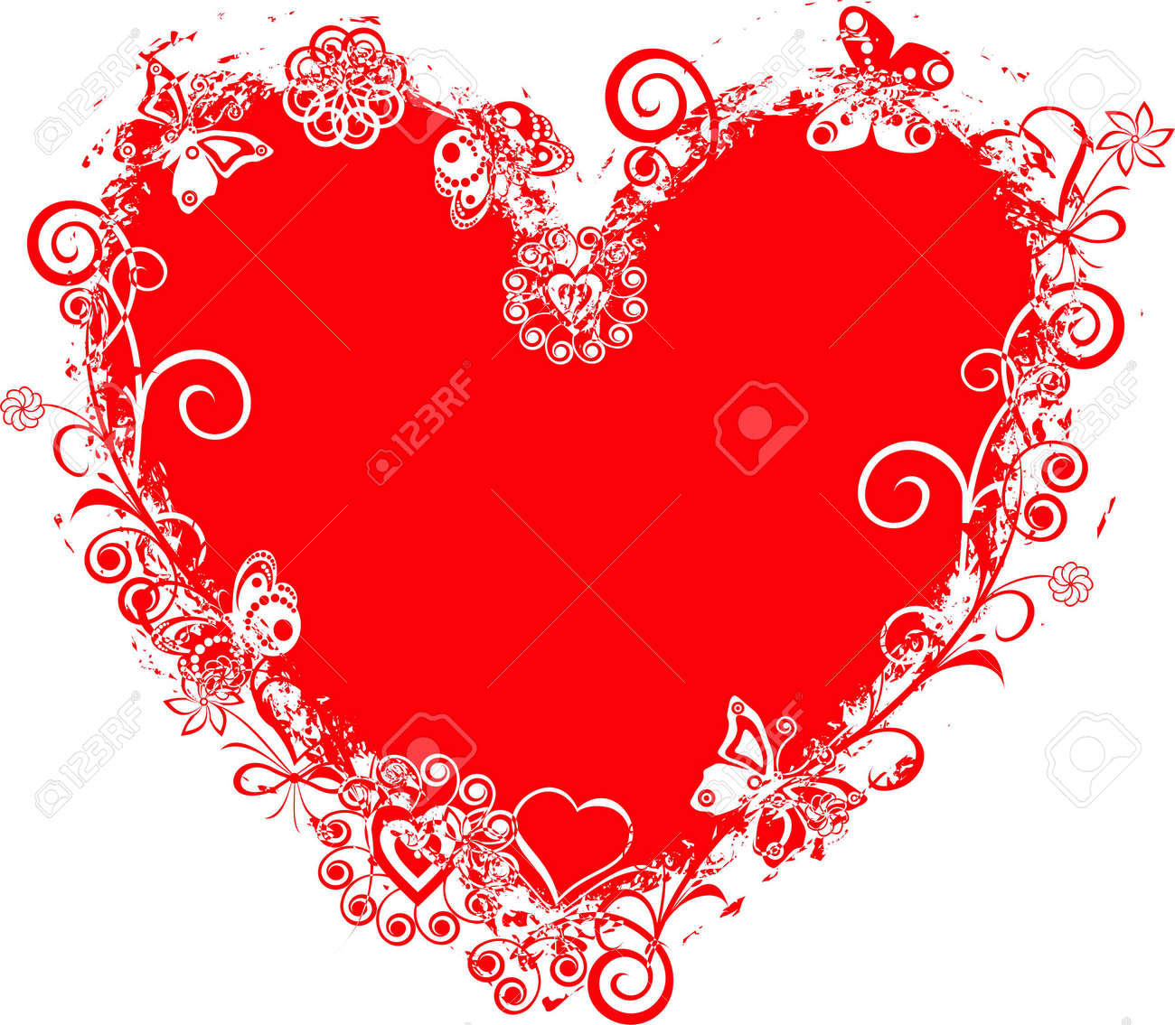 Grunge valentine frame, heart Stock Photo - 293219