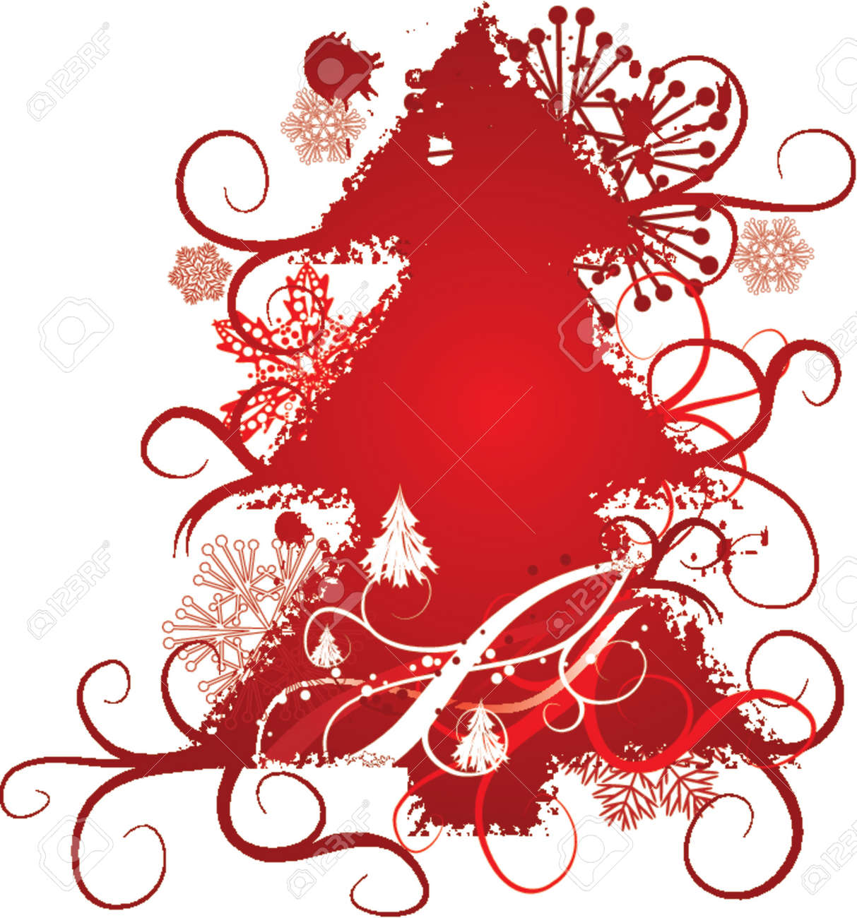 Grunge christmas tree, snowflakes background, vector illustration Stock Vector - 667172