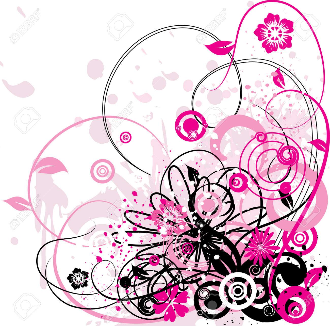 Grunge floral background, vector illustration Stock Photo - 884203