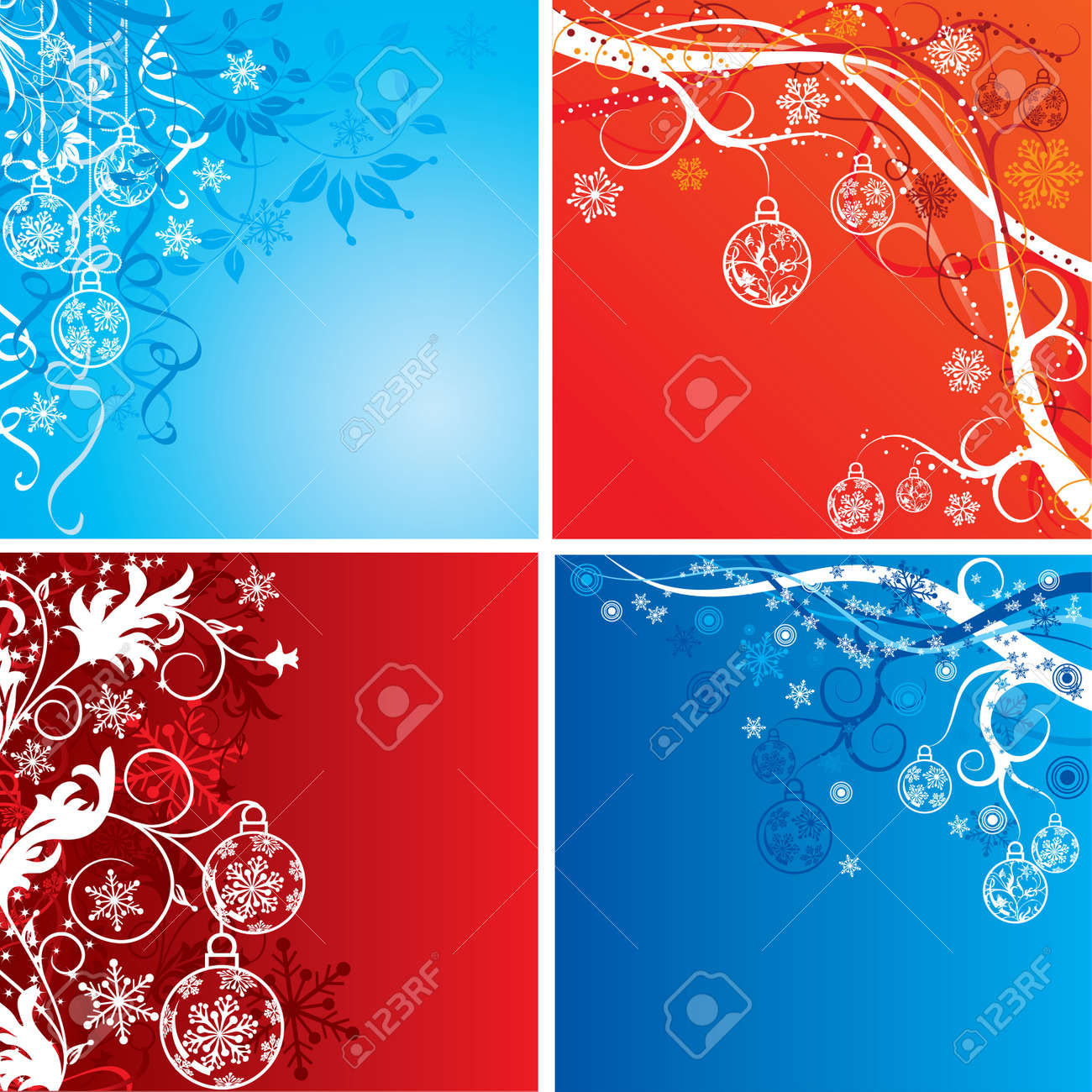 Christmas background with baubles, vector illustration Stock Vector - 2094272