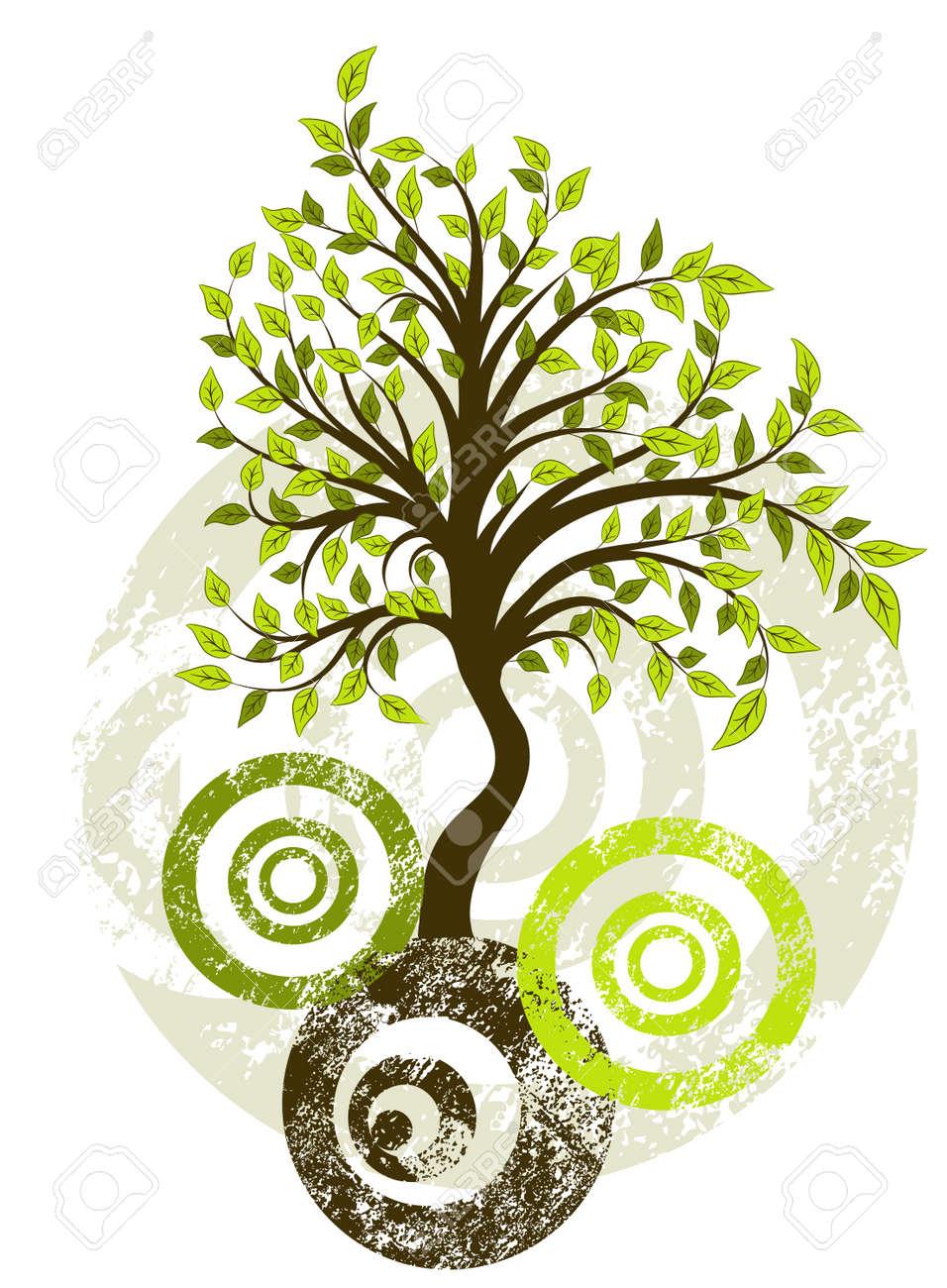 Grunge tree background, vector illustration Stock Vector - 8960798