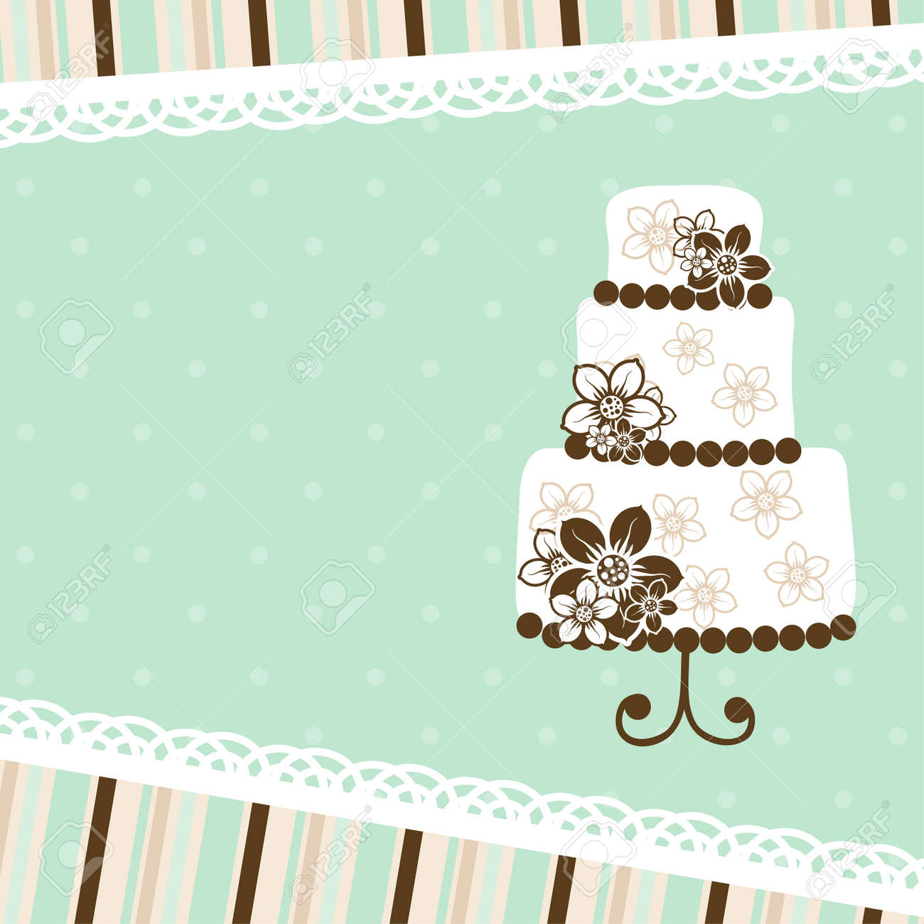 Template Greeting Card Vector Illustration Royalty Free Cliparts – Birthday Cake Card Template