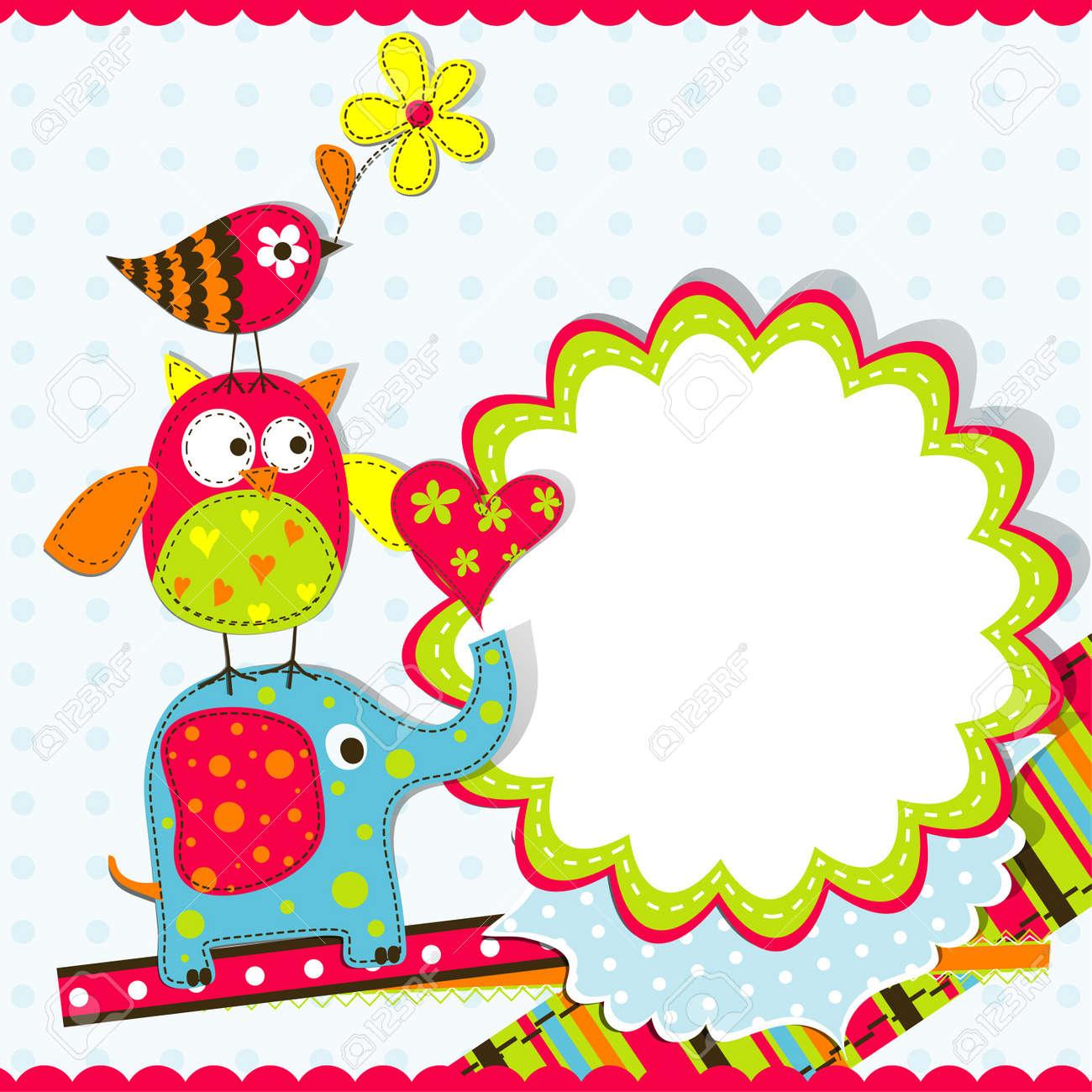 template greeting card vector scrap illustration royalty free  - template greeting card vector scrap illustration stock vector