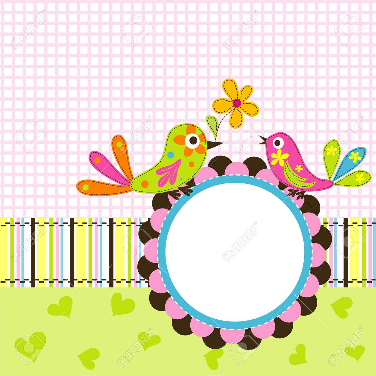 Template greeting card, vector scrap illustration Stock Vector - 13642732