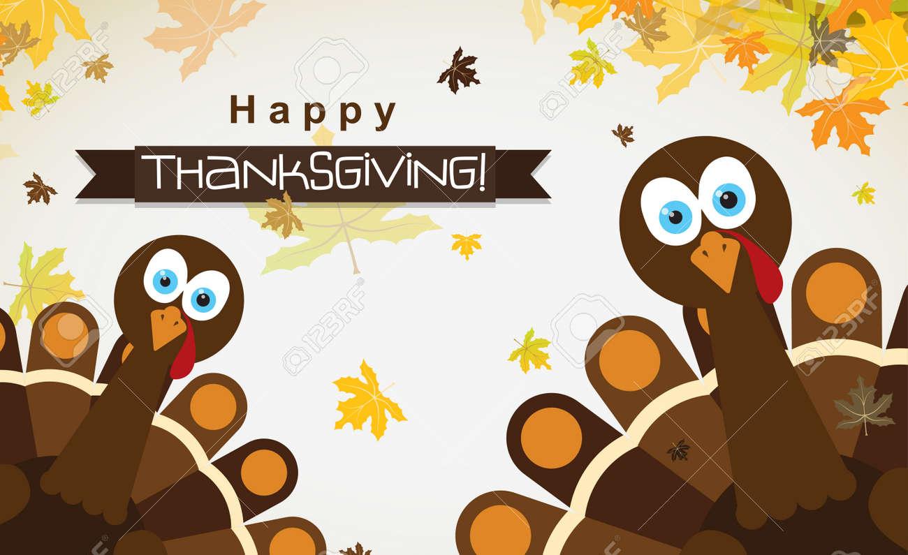 Vorlage Grußkarte Mit Einem Glücklichen Thanksgiving-Truthahn ...