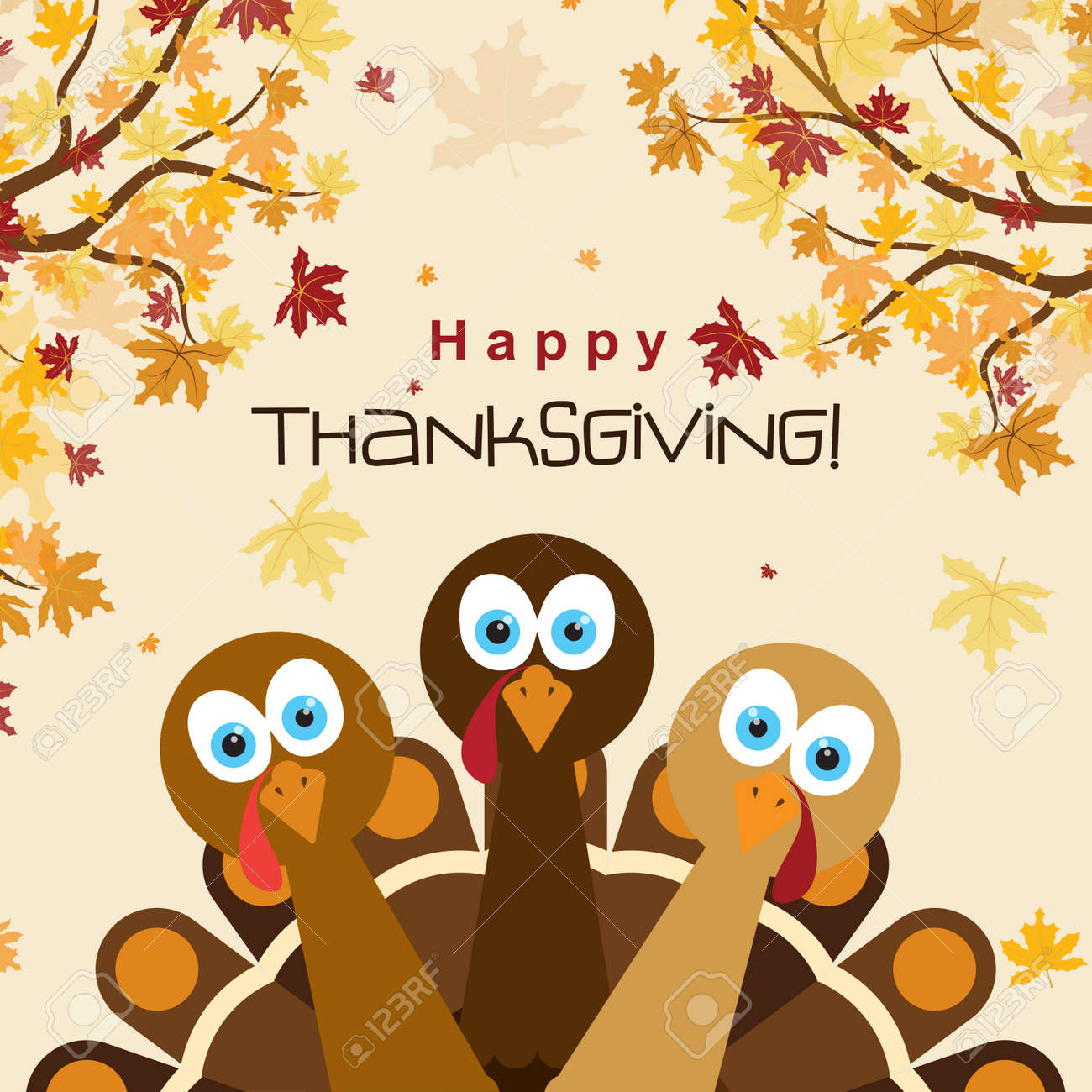 Template Greeting Card With A Happy Thanksgiving Turkey Vector Illustration