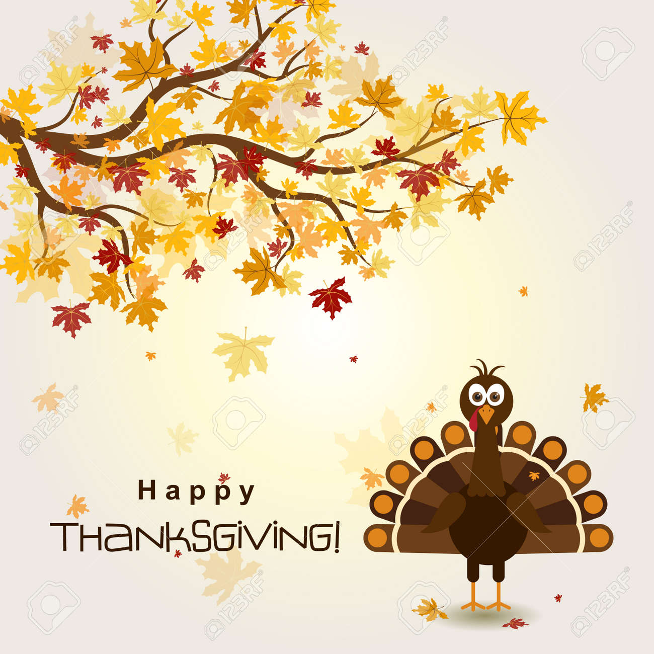 Template greeting card with a happy Thanksgiving turkey, vector illustration - 43976464