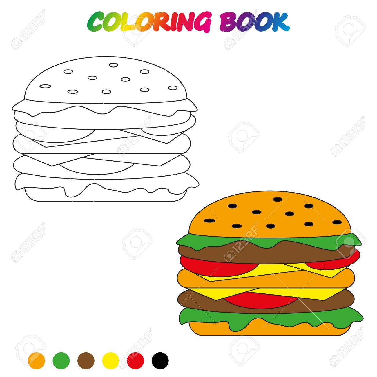 Hamburger Coloring Book Coloring Page To Educate Preschool
