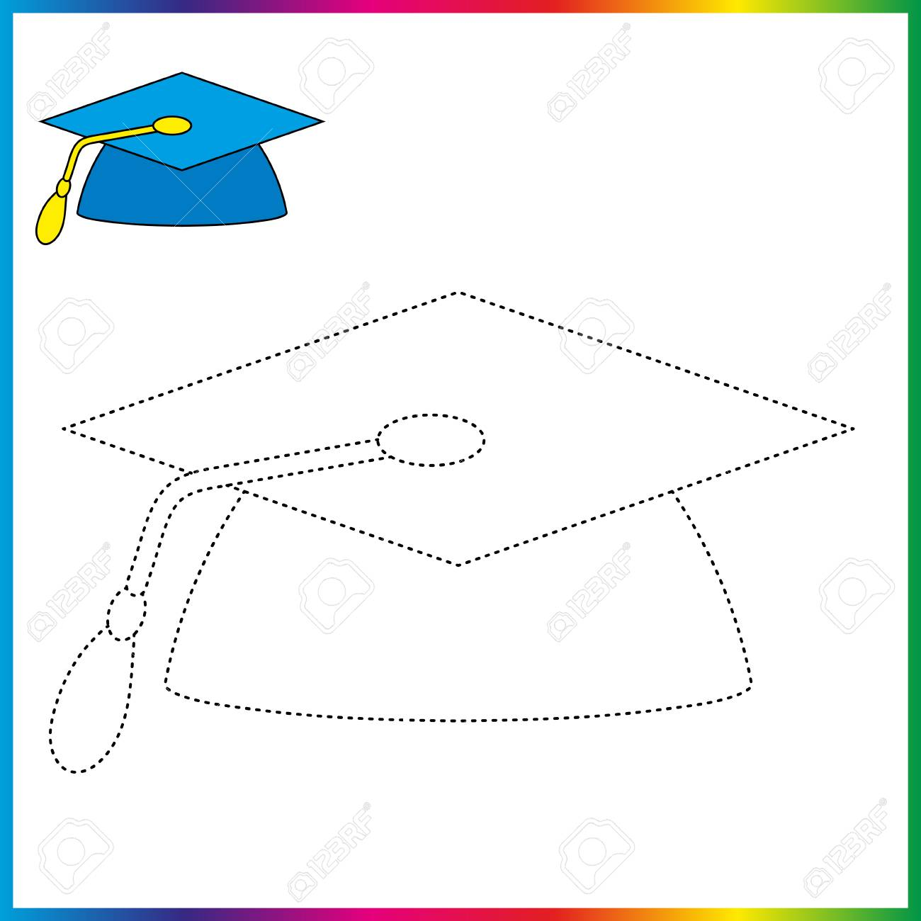 Graduation Cap Connect The Dots And Coloring Page Worksheet