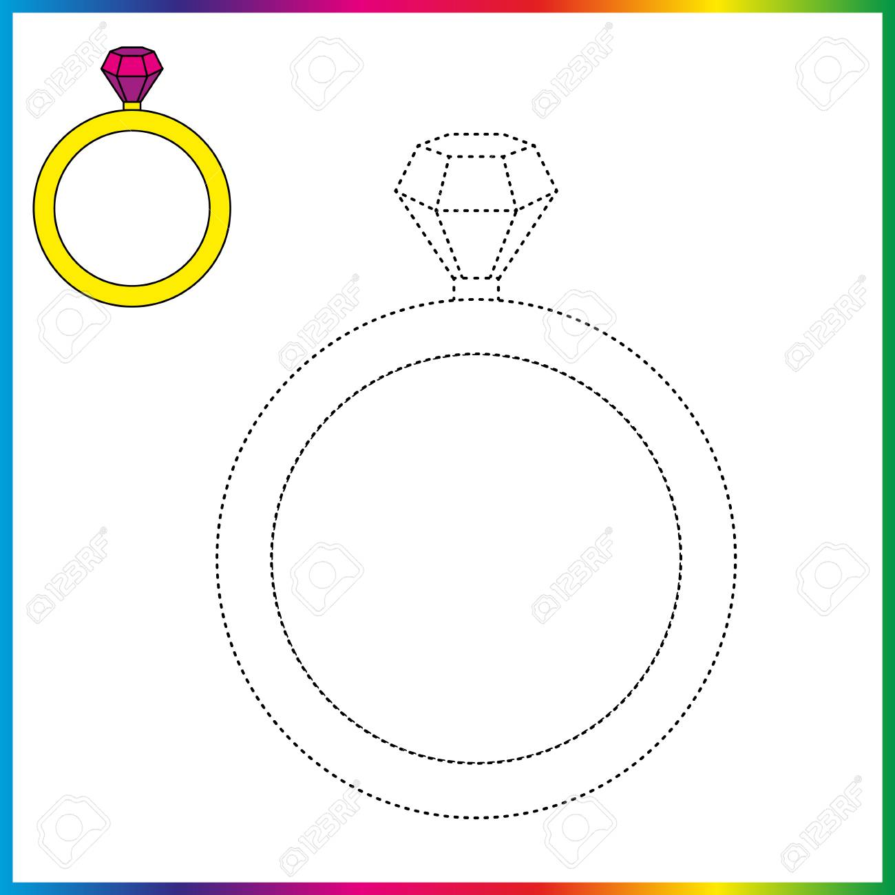 Diamond Ring Connect The Dots And Coloring Page Worksheet