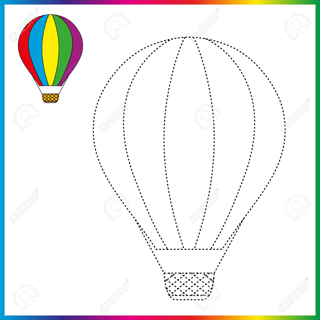 Hot air balloon connect the dots and coloring page worksheet game for kids
