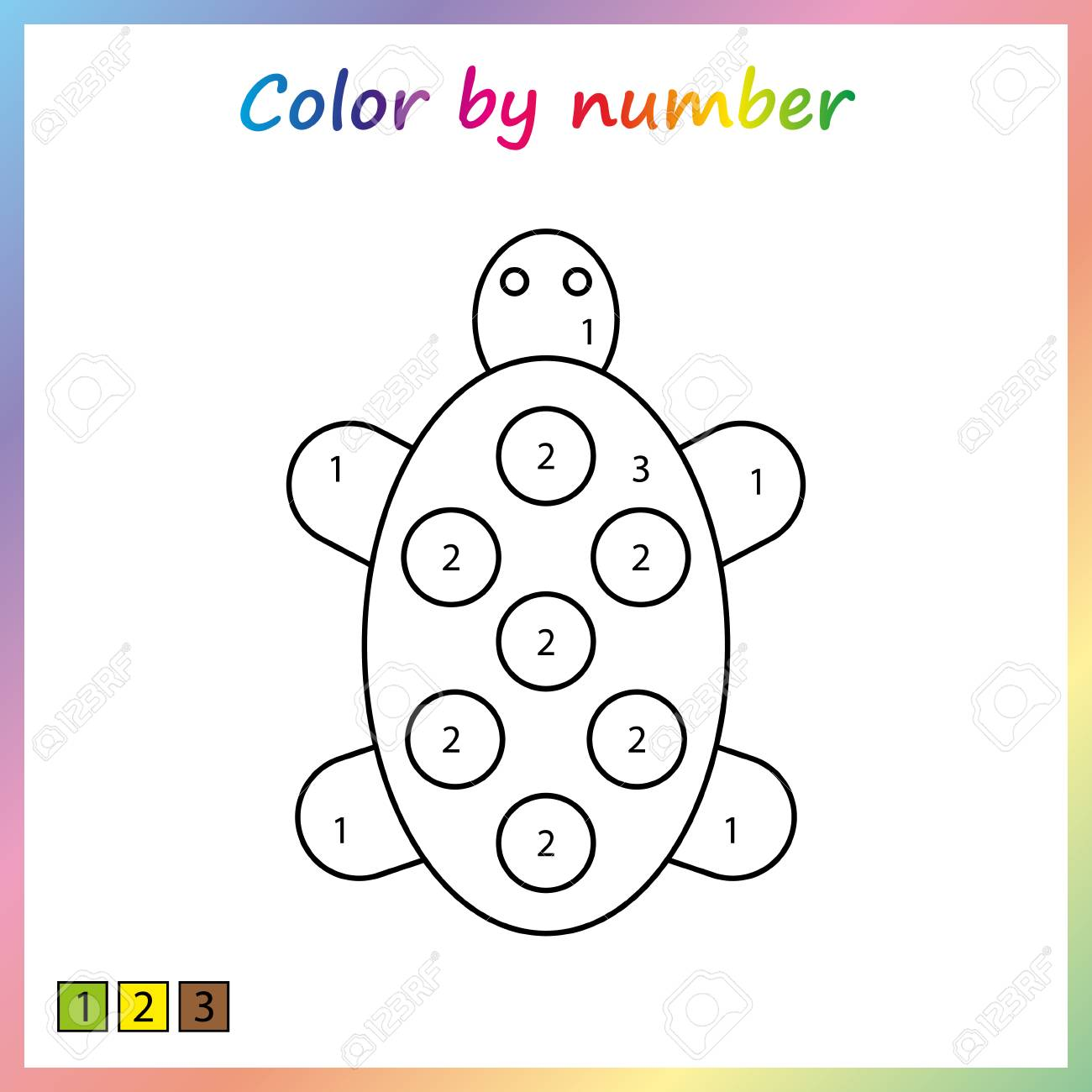 Painting page color by numbers worksheet for education game for preschool kids
