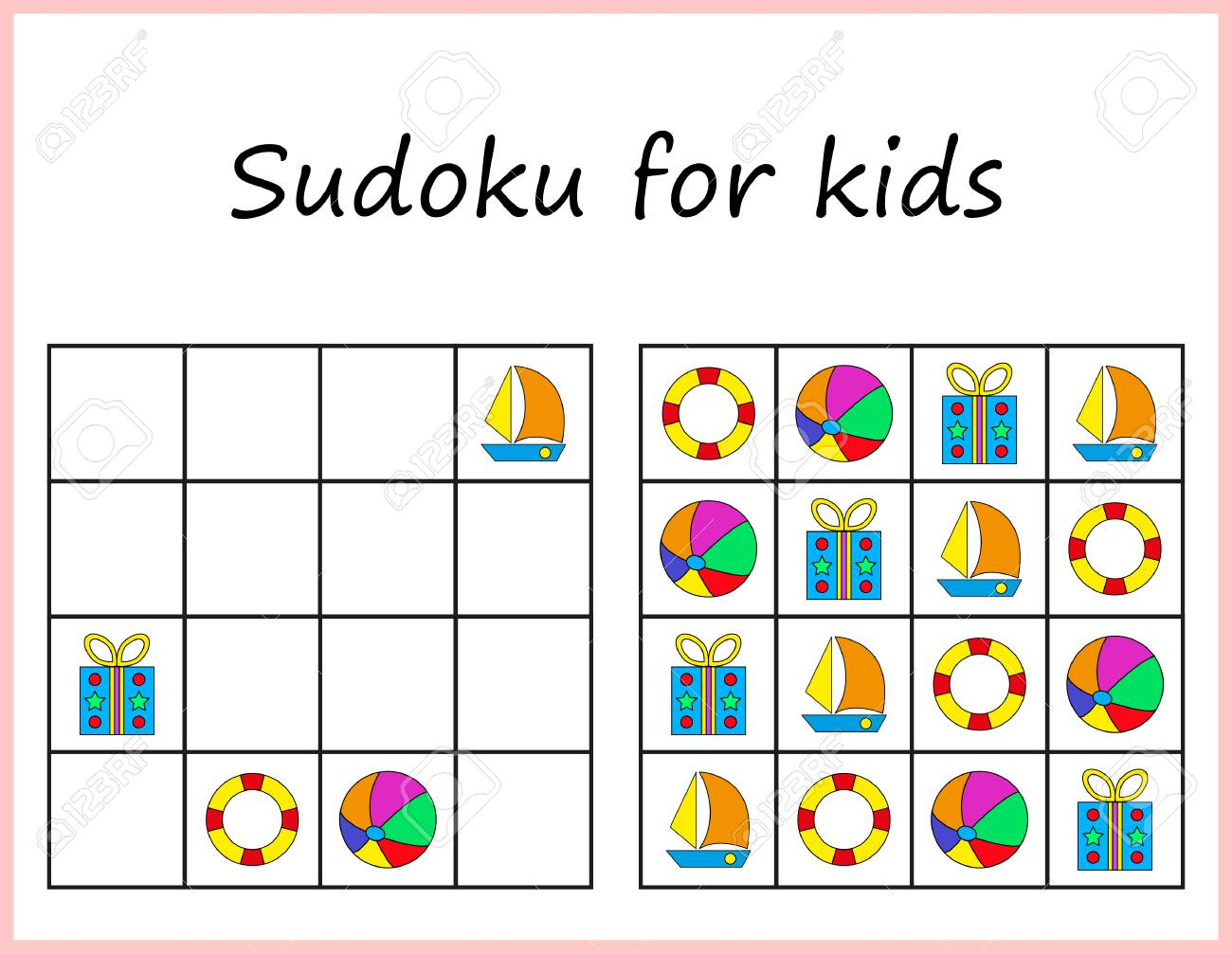 graphic regarding Sudoku Printable for Kids titled Sudoku for youngsters. Recreation for preschool small children, working out logic. Worksheet..