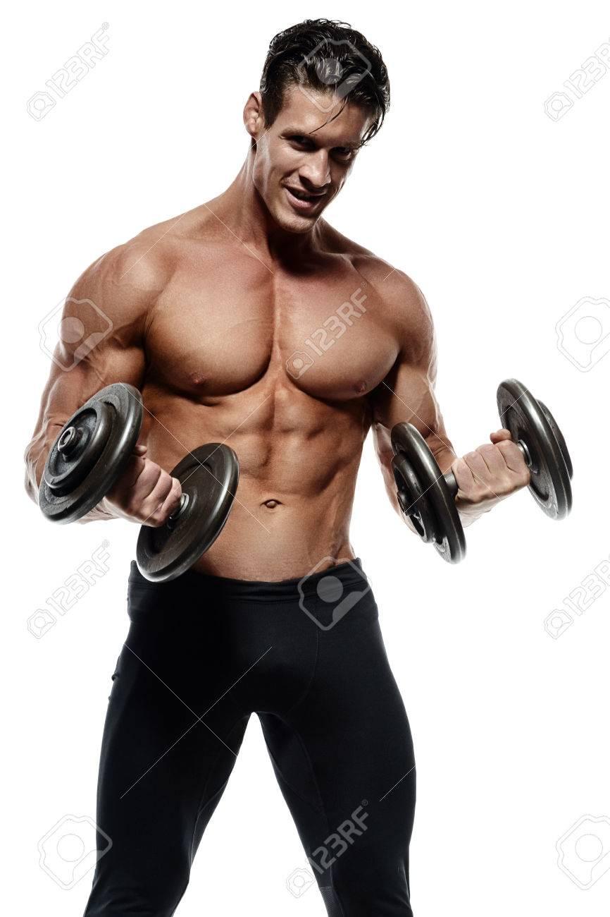 Muskulös Und Fit Junge Bodybuilder Posiert Zeigt Die Rumpfmuskulatur ...