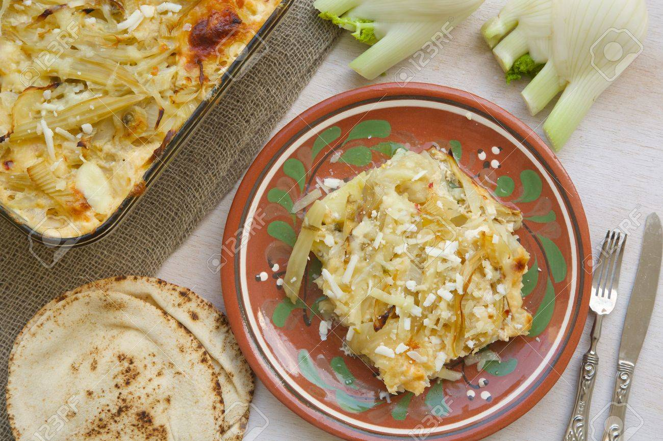 Healthy Vegetarian Dinner Oven Baked Fennel With Potatoes And Cheese Glass Mold A