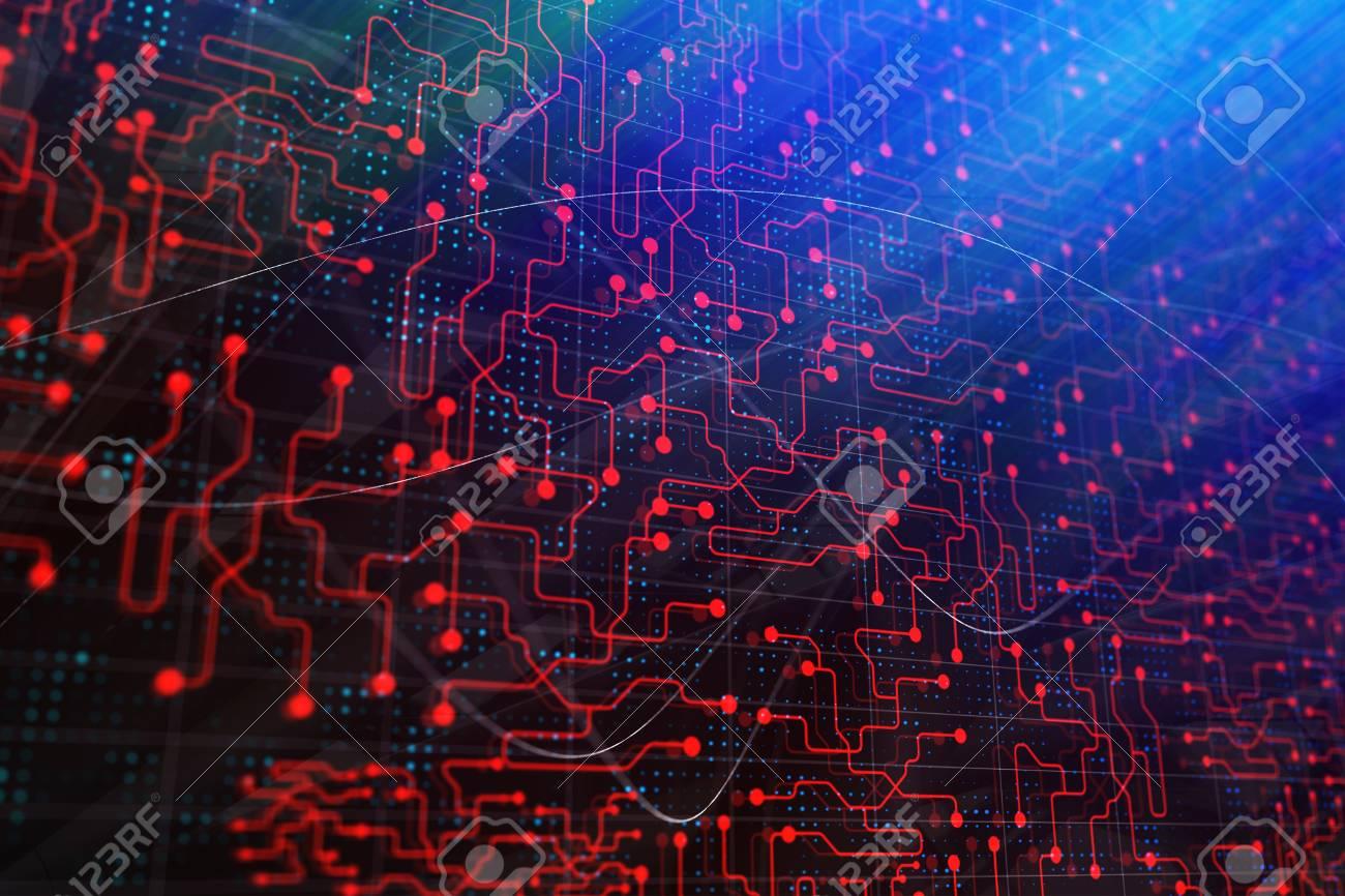 Creative Digital Geometric Circuit Board Wallpaper Technology
