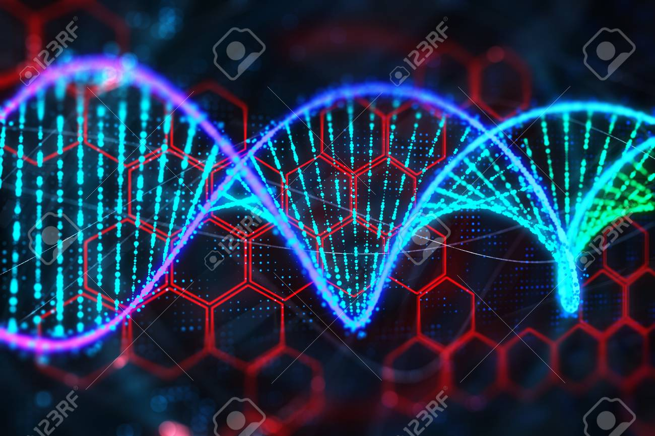 Creative Glowing DNA Wallpaper Science And Medicine Concept 3D Rendering Stock Photo