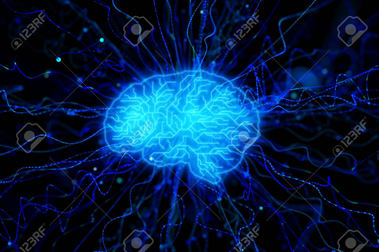 Creative Glowing Blue Circuit Brain Wallpaper Artificial Intelligence