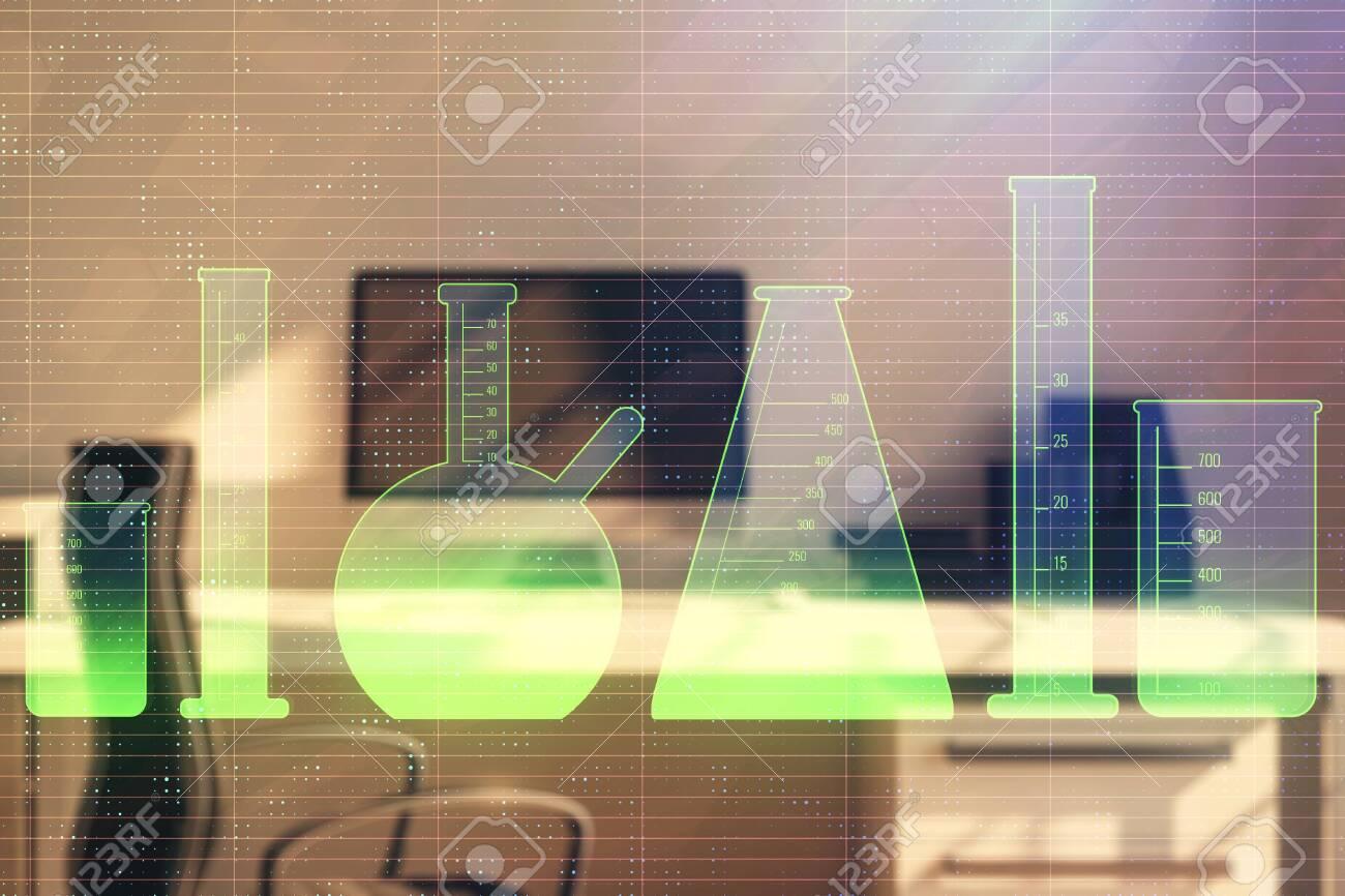 Laboratory Flasks Sketch Hologram With Desktop Office Background
