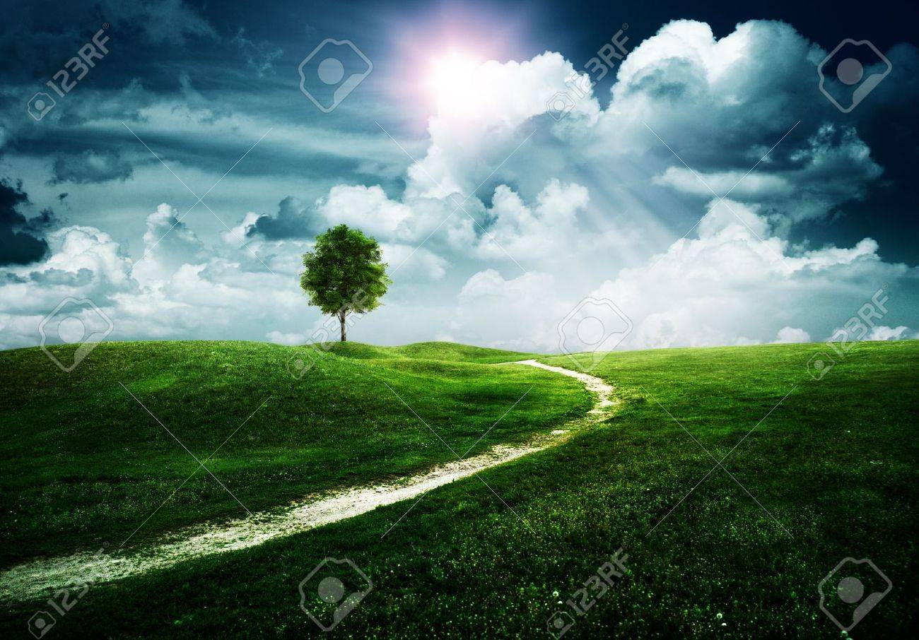Straight way to the happy future. Abstract natural backgrounds Stock Photo - 14889675