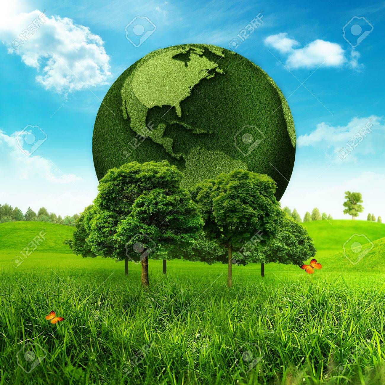 Green Earth Abstract environmental backgrounds - 18245742