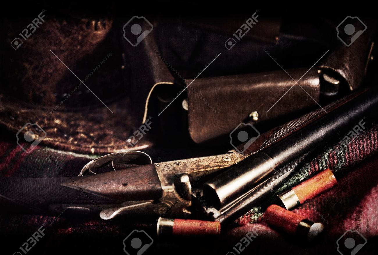 Film Noir Art vintage hunting backgrounds with old film added texture - 18666740