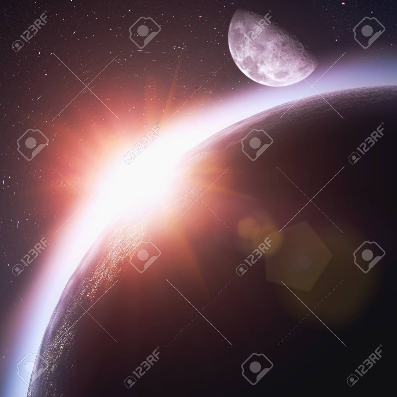 Rising sun over the planet Earth, abstract backgrounds. No NASA imagery used Stock Photo - 21375904