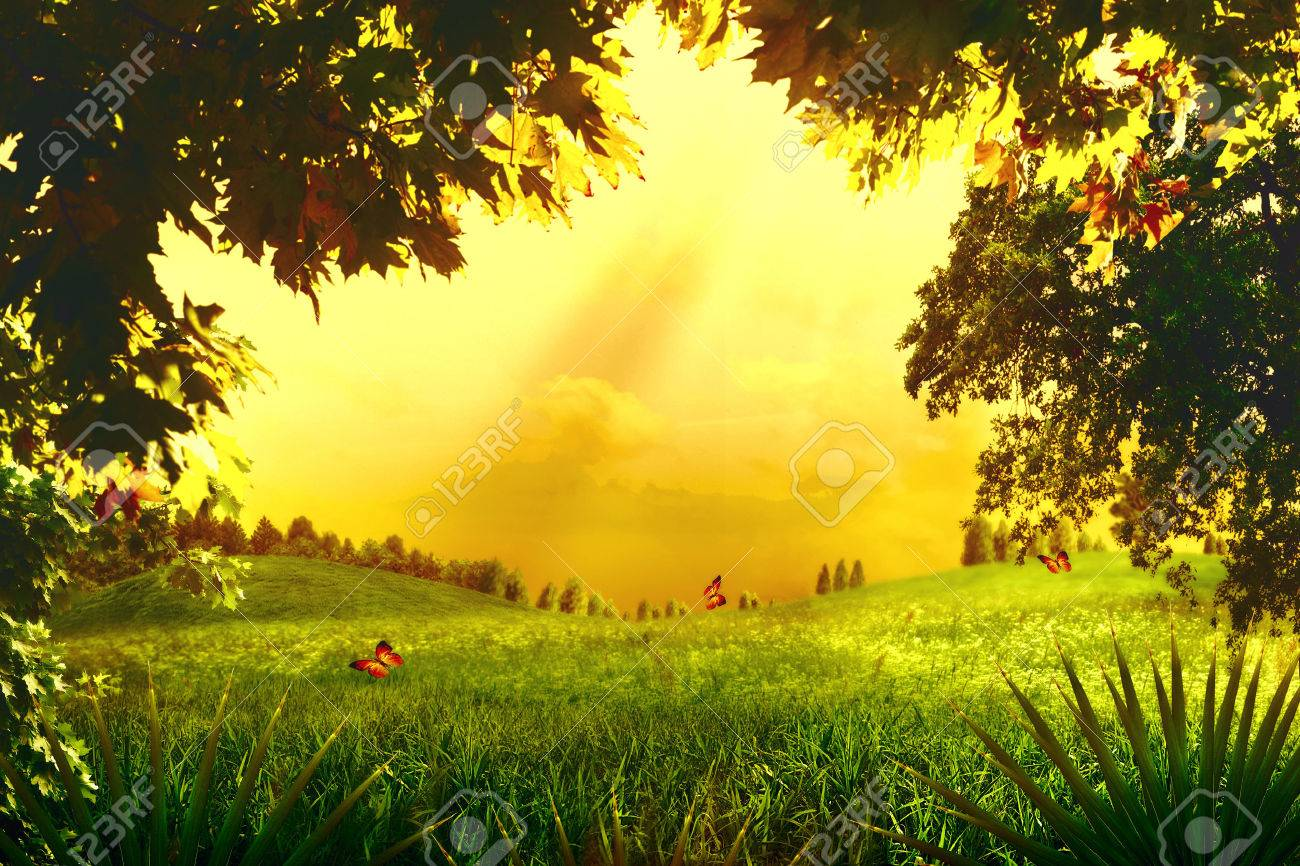 Magic Forest. Abstract environmental backgrounds for your design - 22510375