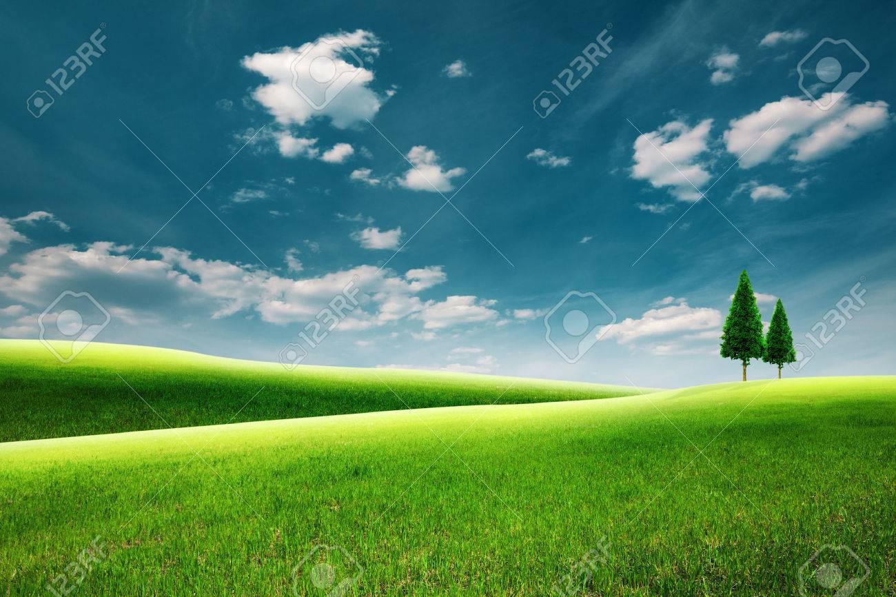 Summer rural landscape with green hills under blue skies - 45007259
