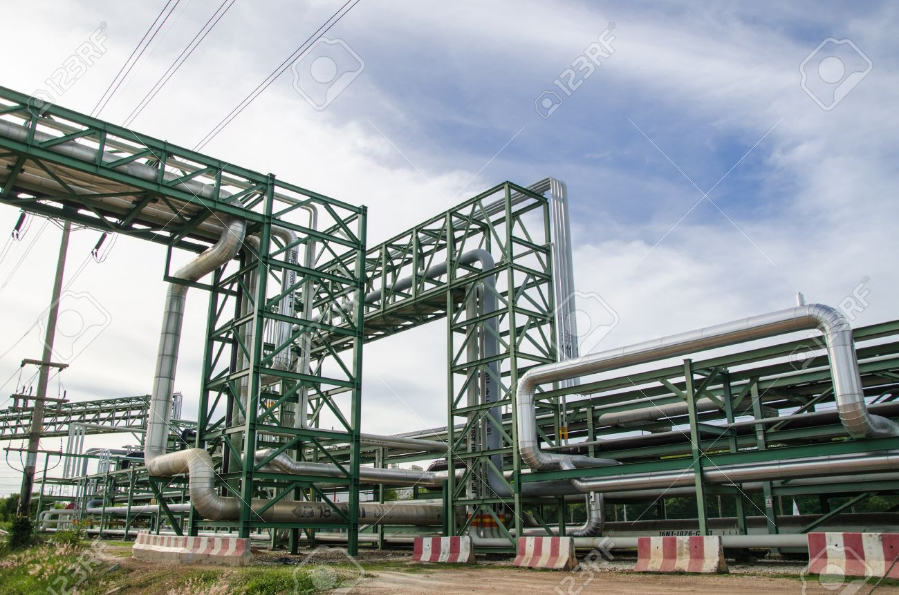 piping rack plant russia the industrial in stock ground photo pipe at pipeline heat above