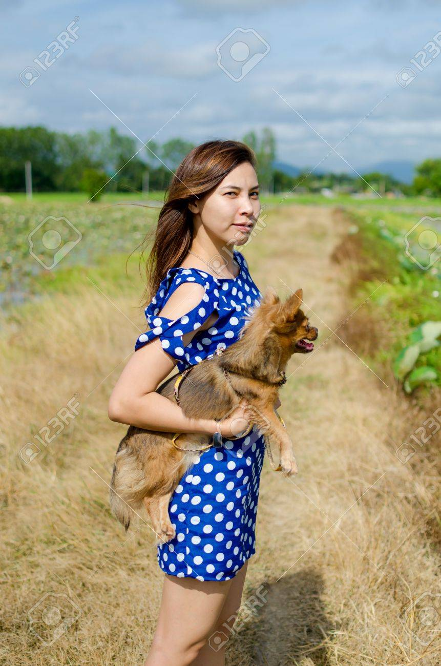 beautiful woman with cute little dog friend outdoors stock photo