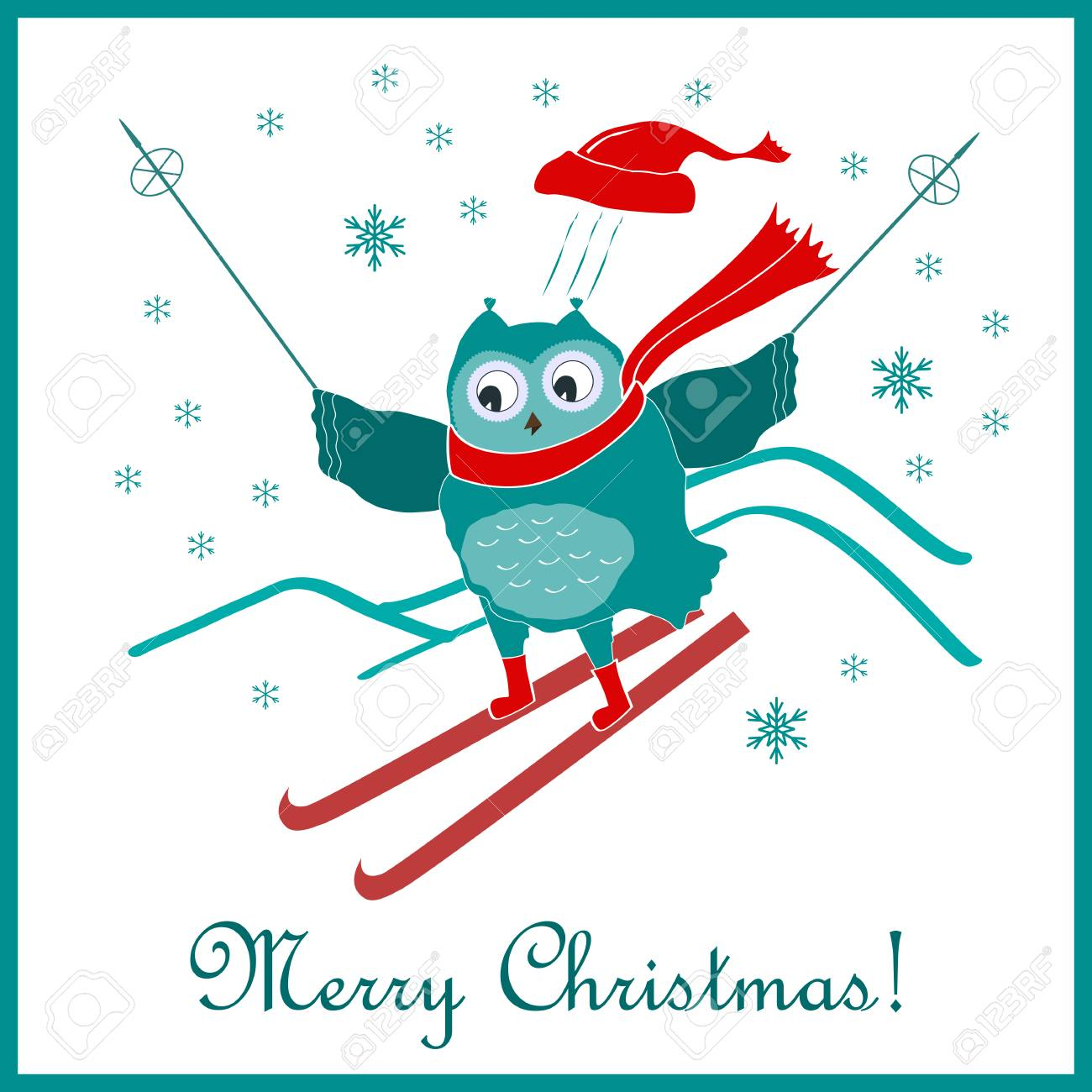 funny and cute skiing owl new year and christmas card vector illustration stock vector