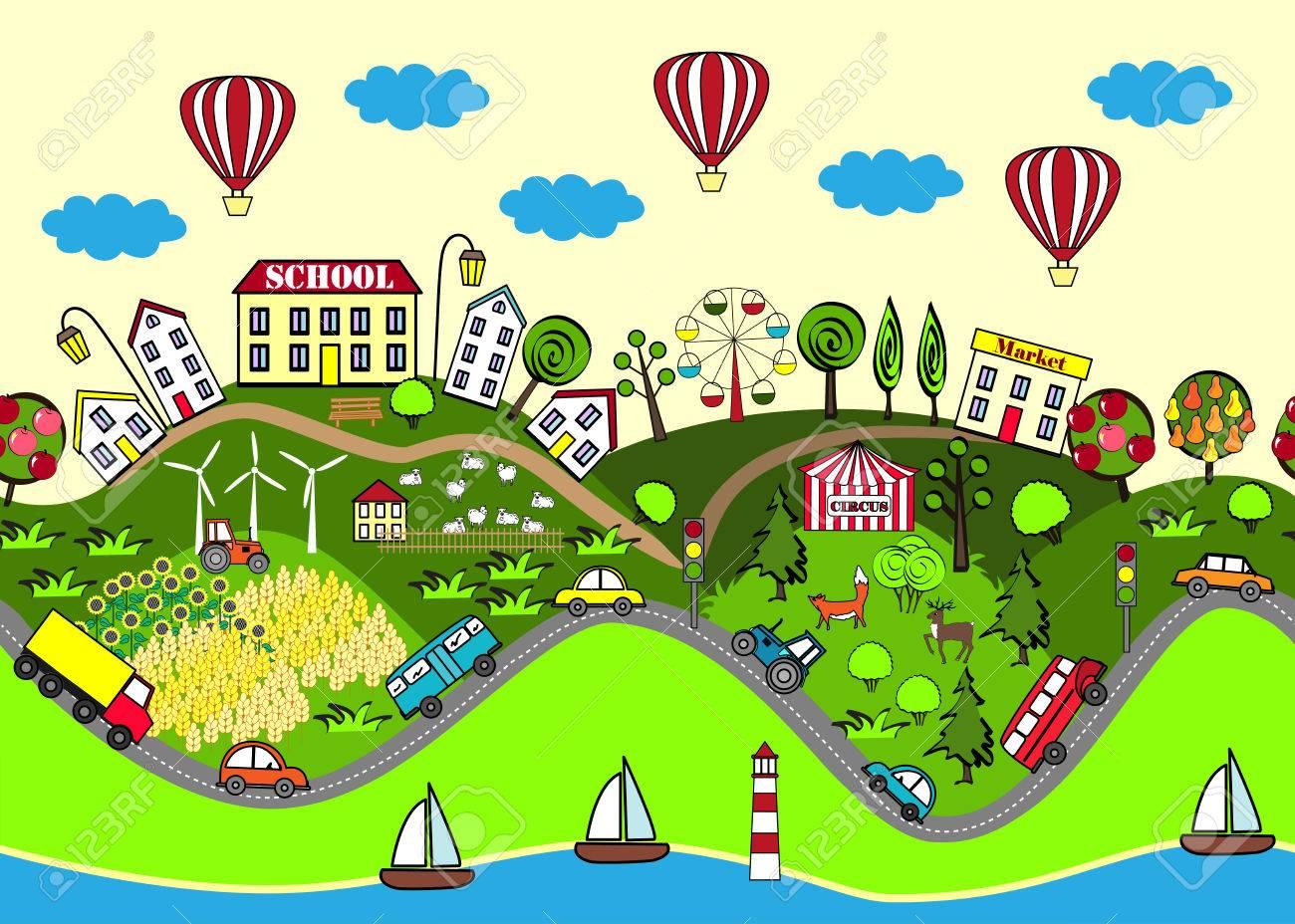 Nette Nahtlose Muster Mit Häusern, Meer, Straßen, Wald, Flügel ...