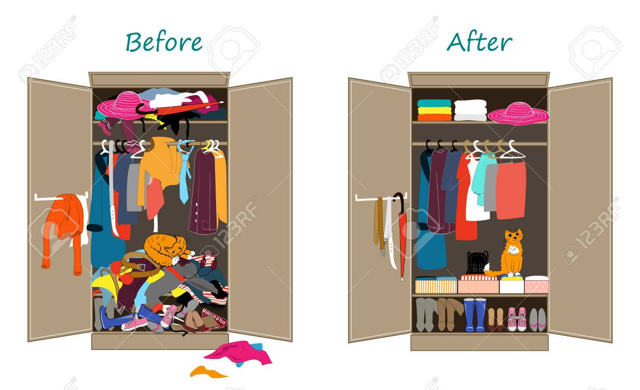 Before untidy and after tidy wardrobe. Messy clothes thrown on a shelf and nicely arranged clothes in piles and boxes. - 78205327