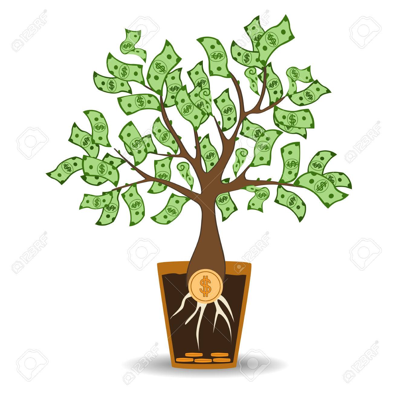 money tree growing from a coin root green cash banknotes tree rh 123rf com Stages of Change Clip Art Garden Clip Art