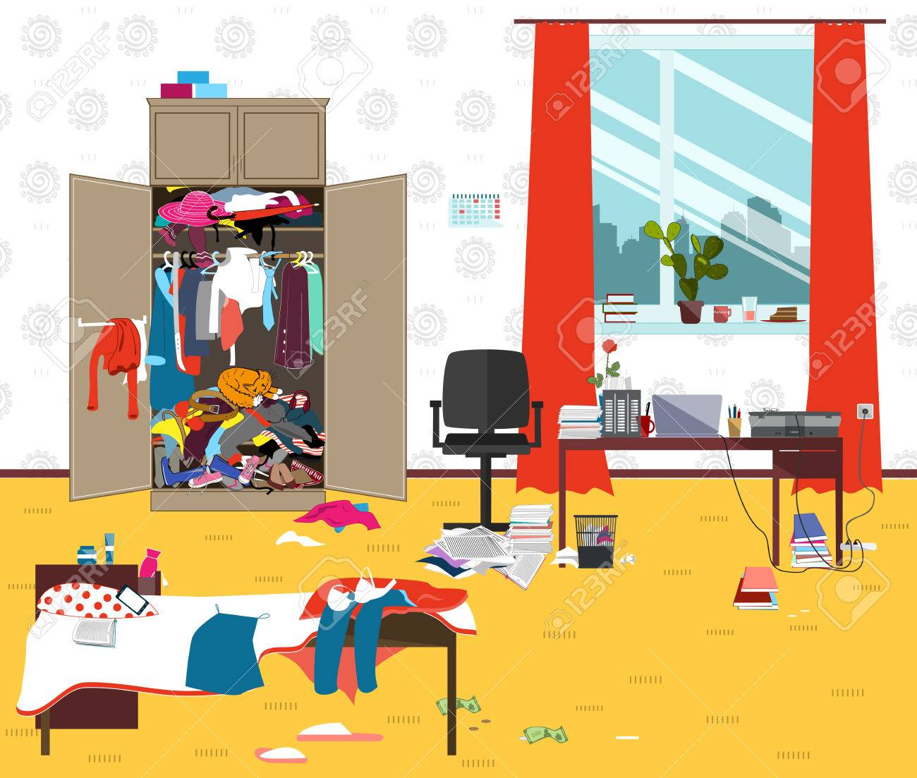 messy room where young lady lives teenager or student girl untidy