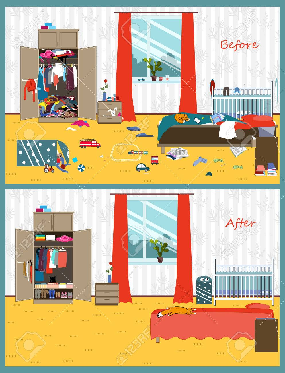 Dirty and clean room. Disorder in the interior. Room before and after cleaning. Flat style vector illustration. - 86140393