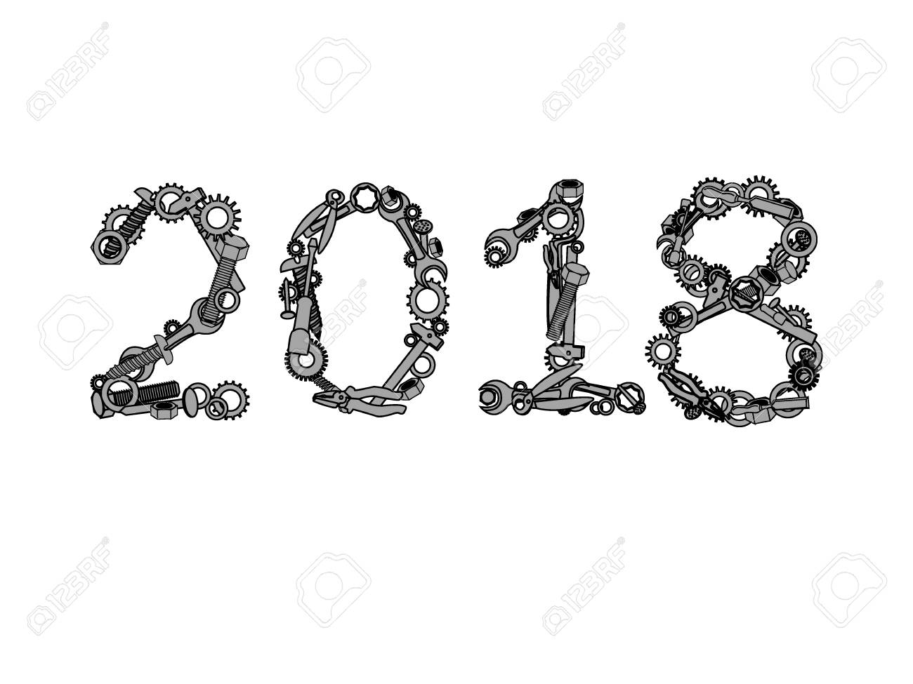 2018  Happy new year vector number from hardware tools  Numbers