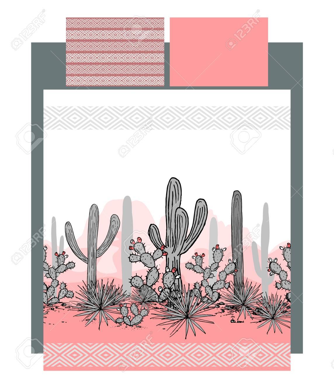 Bettwäsche Vektor Mit Mexikanischen Kakteen Und Berge Landschaft