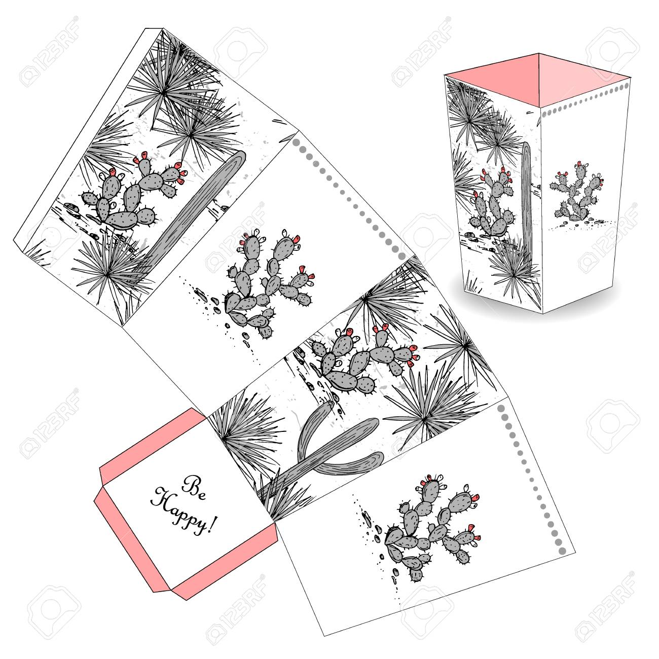 cute popcorn box with hand drawn sketch cactus prickly pear