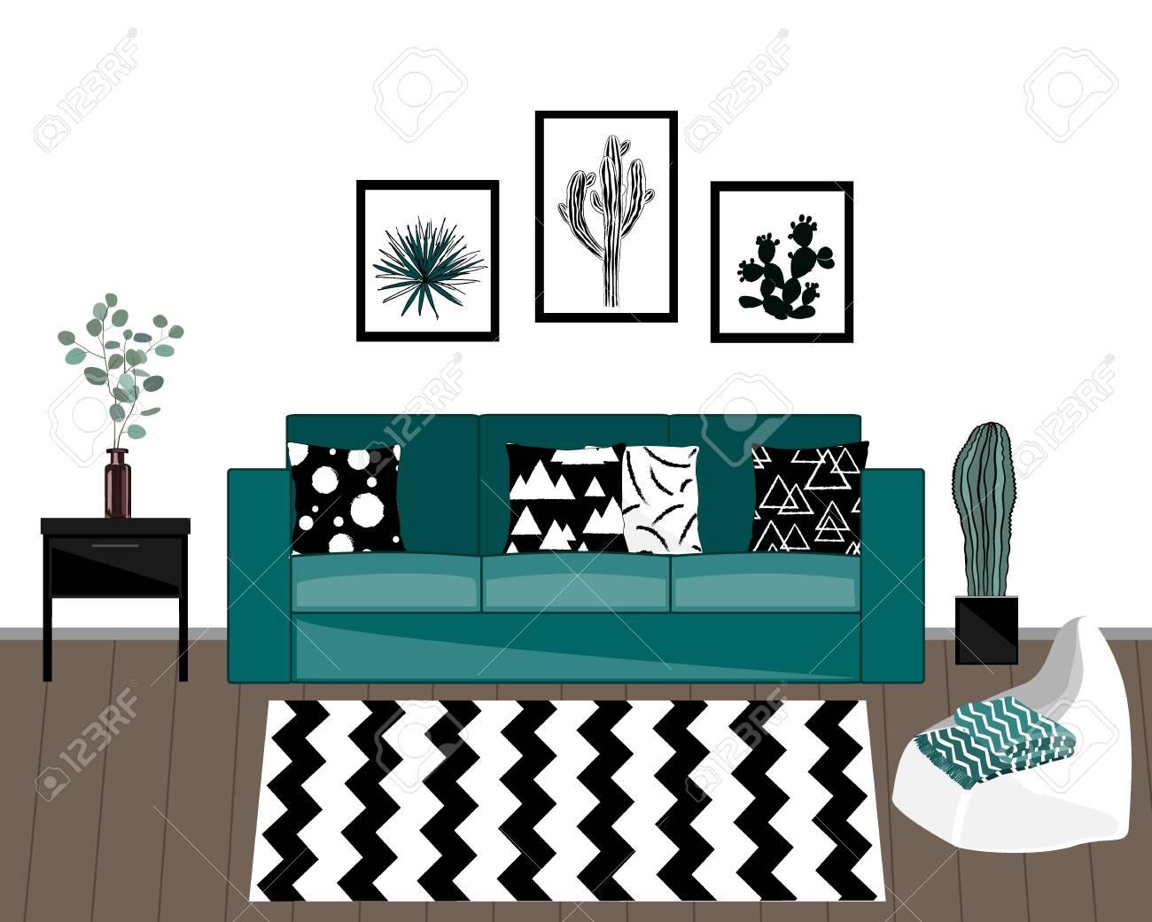 Marvelous Scandinavian Style Livingroom Interior With Black And White Carpet Inzonedesignstudio Interior Chair Design Inzonedesignstudiocom