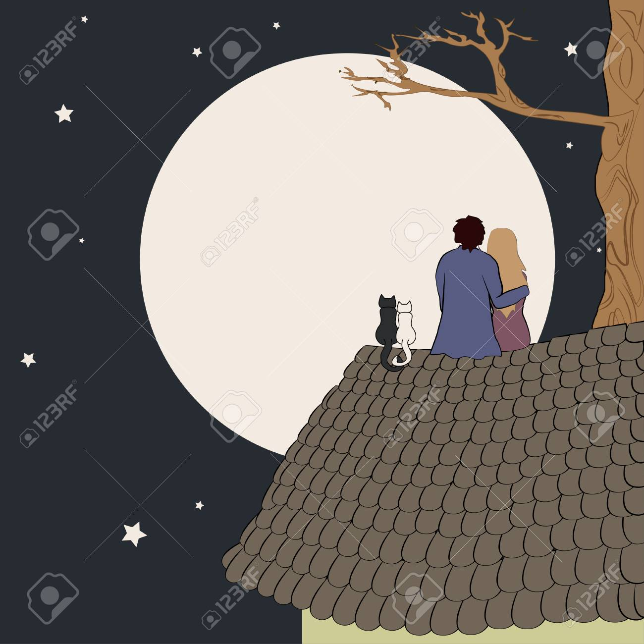 Hand Drawn Vector Illustration Of Loving Couple Sitting On Roof Royalty Free Cliparts Vectors And Stock Illustration Image 111965251
