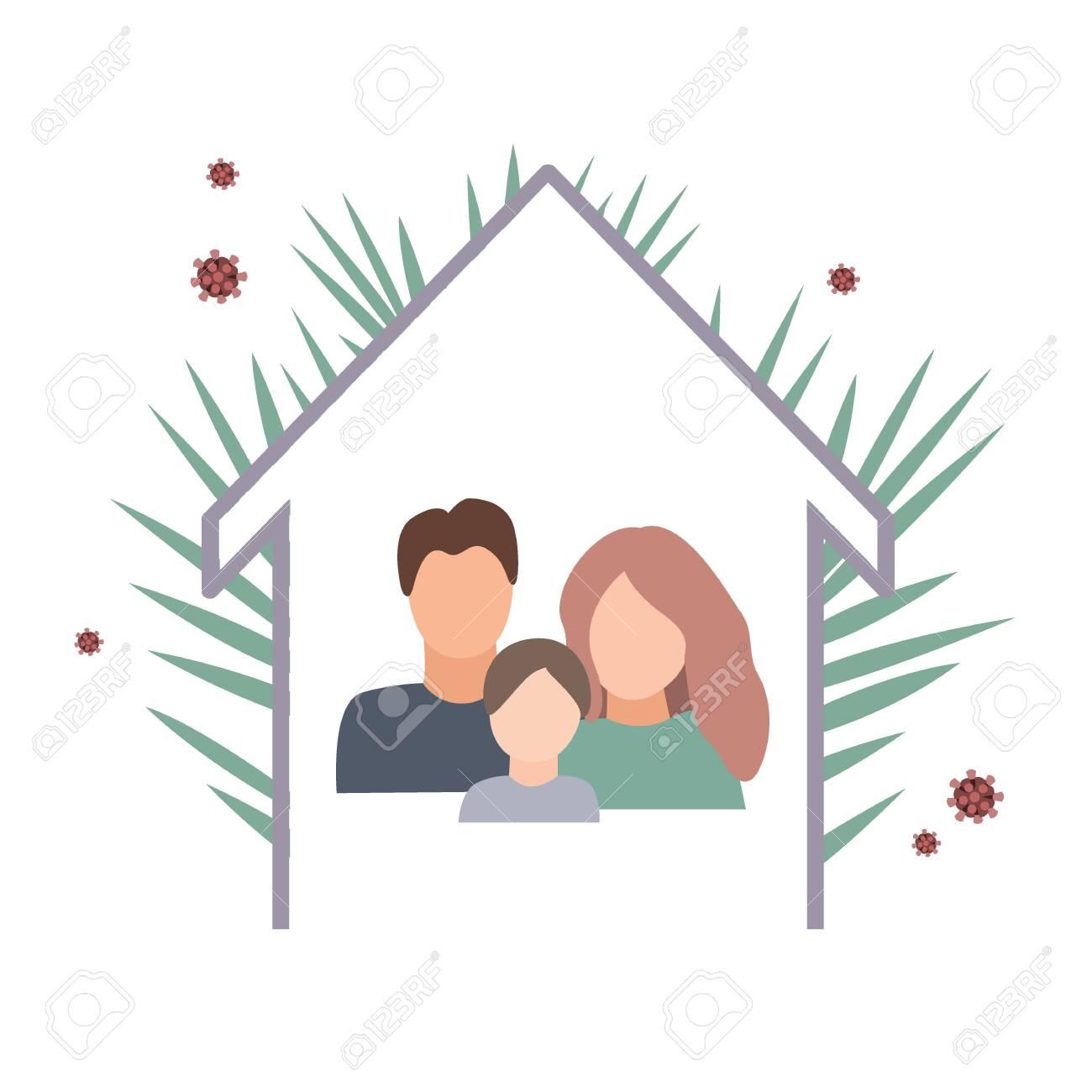 Coronavirus quarantine concept with family staying at home. Flat cartoon vector illustration - 142894065
