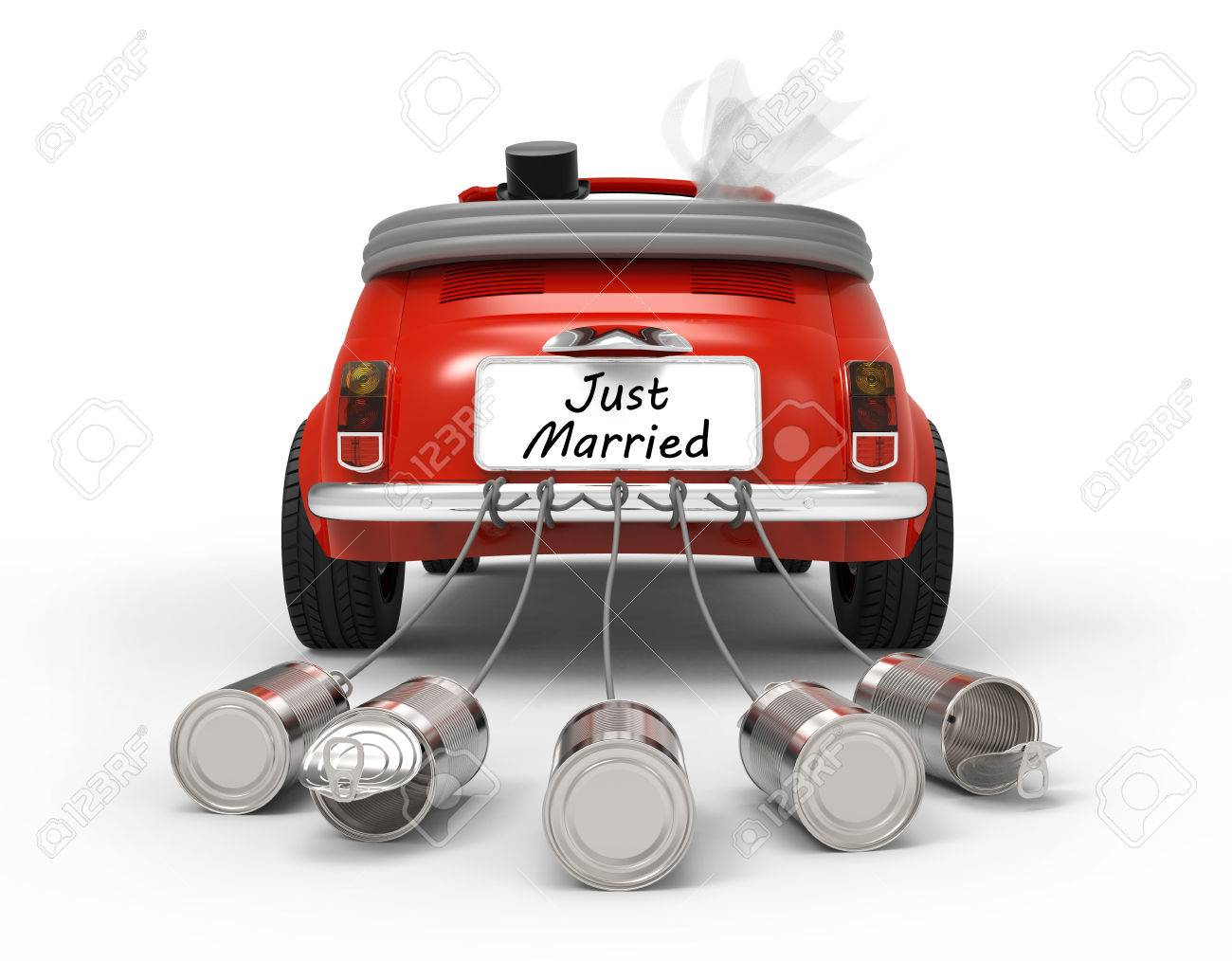 Just Married isolated on white background 3D rendering - 65352796