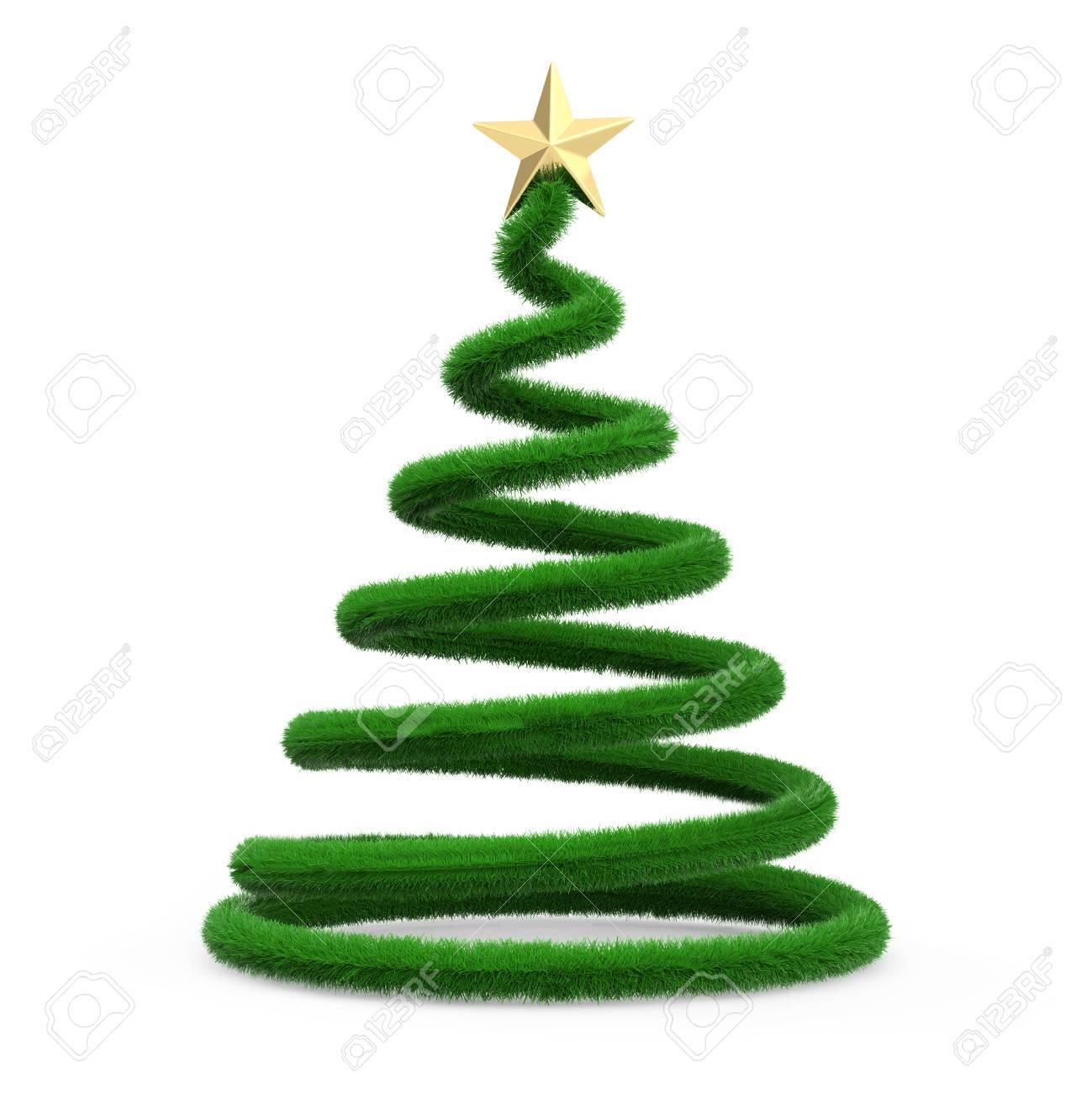 Kerstboom Op Het Witte 3d Teruggeven Wordt Geisoleerd Als
