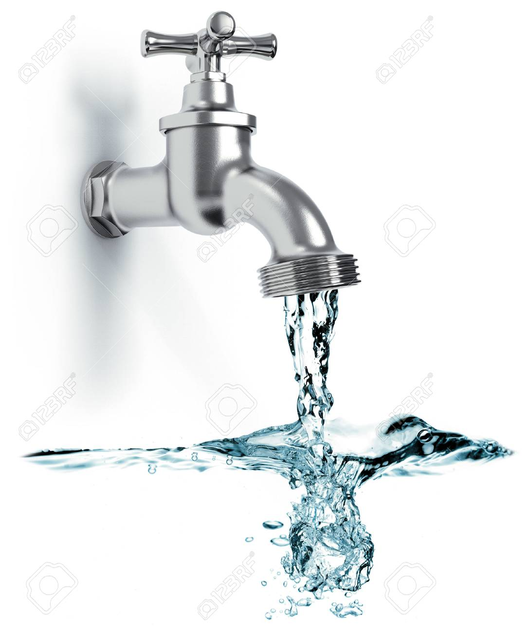 Faucet with flowing water and waves isolated on white background 3D rendering - 90861909